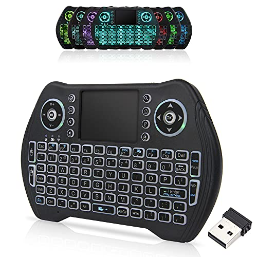 Backlit 2.4GHz Mini Wireless Keyboard Remote Control with Touchpad Mouse Combo with USB Dongle Rechargeable Li-ion Battery for Android TV Box/Smart TV/PC/Windows/MacOS/Linux/X-Box/Smart TV Box