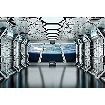Haoyiyi 7x5ft Spacecraft Background Outer Space Party Spaceship Interior Window View On Planet Earth Photography Backdrop Kids Boy Birthday Party Baby Shower Photo Adventure Travel Wallpaper Poster