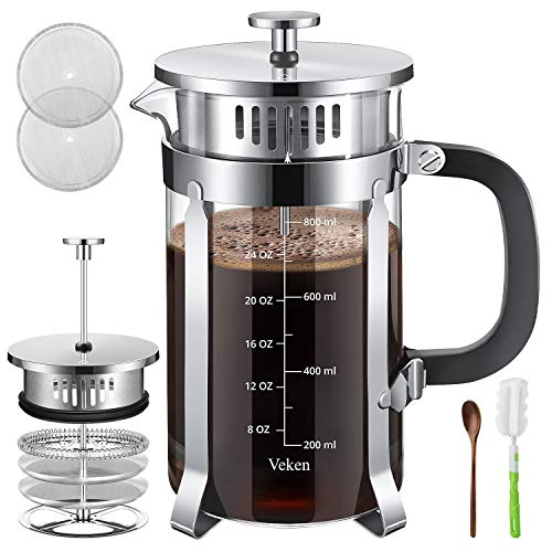 Veken French Press Coffer Tea Maker (34 oz), 304 Stainless Steel Coffee Press with 4 Level Filtration System, Thickened Heat Resistant Borosilicate Glass, Silver