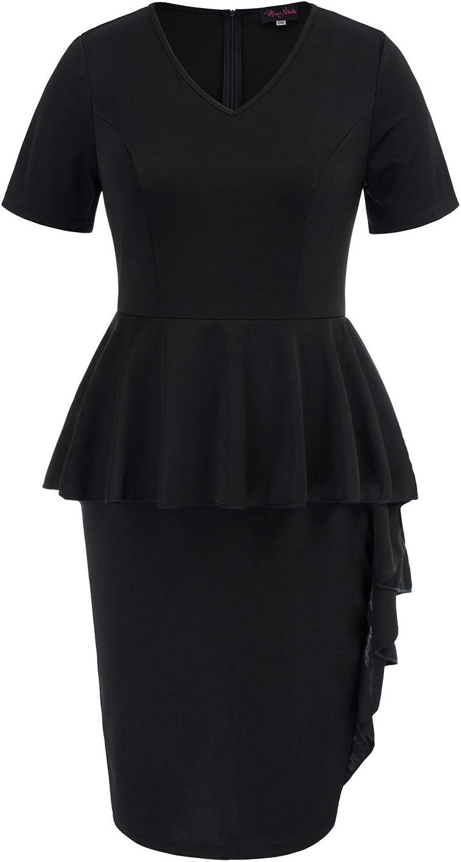 Women Plus Size Midi Pencil Dress Ruffle Party Club Cocktail Bodycon Wrap Dresses V Neck