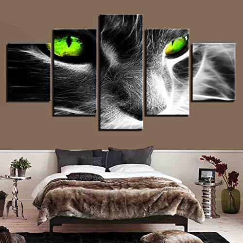 GIAOGE Hd Prints Picture Frame Woonkamer muurkunst dier linnen schilderij 5 stuks abstracte groene oogschaduw poster wooncultuur ohne gerahmt 30 x 40 30 x 60 30 x 80 cm.