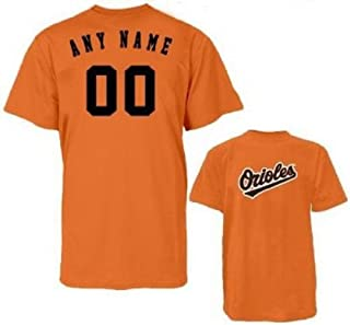 Baltimore Orioles Personalized Custom (Add Name & Number) Youth Medium 100% Cotton T-Shirt Replica Major League Baseball Jersey Orange