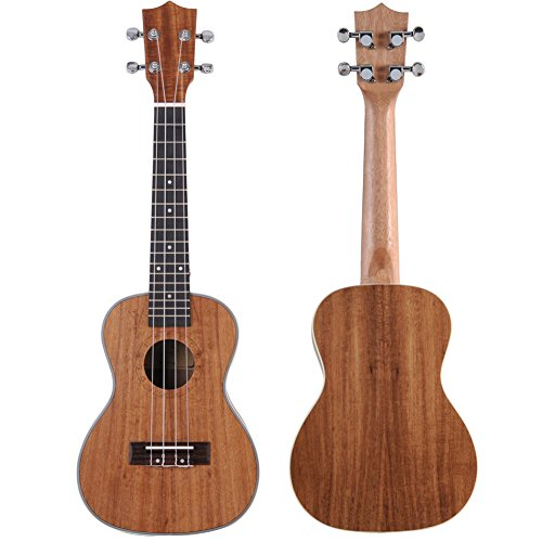 ADM Koa Plywood Concert 23 Inch Intermediate Professional Ukulele Bundle with Gig Bag, Tuner, Brown