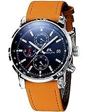[メガリス]MEGALITH メンズ腕時計本革 クロノグラフ防水時計 多針アナログクオーツスポーツウオッチレザー 日付表示 ラグジュアリー おしゃれ ビジネス カジュアル 男性腕時計