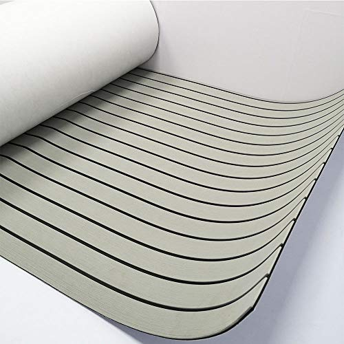 """EVA Faux Teak Decking Sheet For Yacht/Boat Non-Slip Pads 94.5""""x35.5"""" Light Grey with Black Lines"""