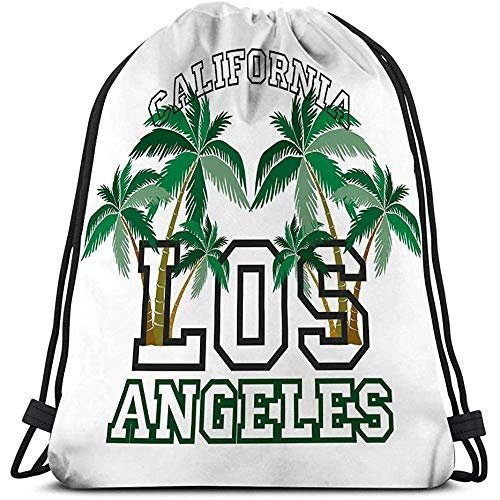 Trekkoord Tas Sport Opbergtas los engelen palm strand typografie stempel california embleem vintage sport wear print