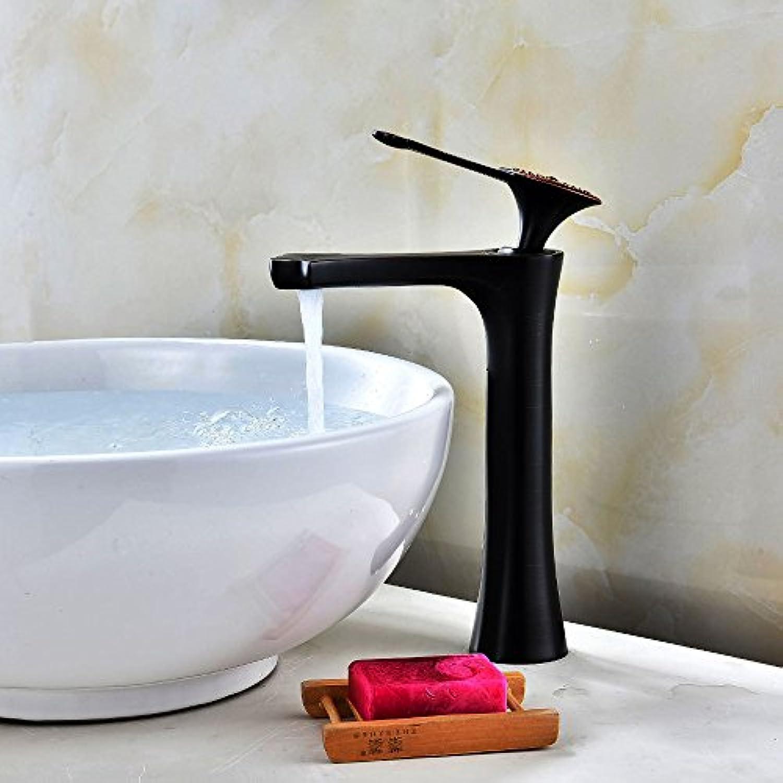 Bijjaladeva Wasserhahn Bad Wasserfall Mischbatterie Waschbecken WaschtischWaschtisch Armatur Bad Plus Hohe wasseranschlu Antik Schwarz Antik Waschbecken Einloch Mischbatterie