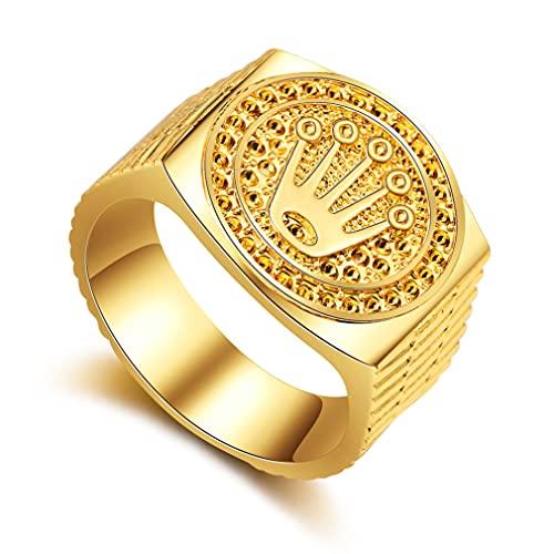 Banda de anillo de Hip Hop Tallado Coronet DIADEM PARA HOMBRE Mujeres Mujeres Día San Valentín Fiesta de compromiso de boda Cumpleaños Tamaño de oro 9