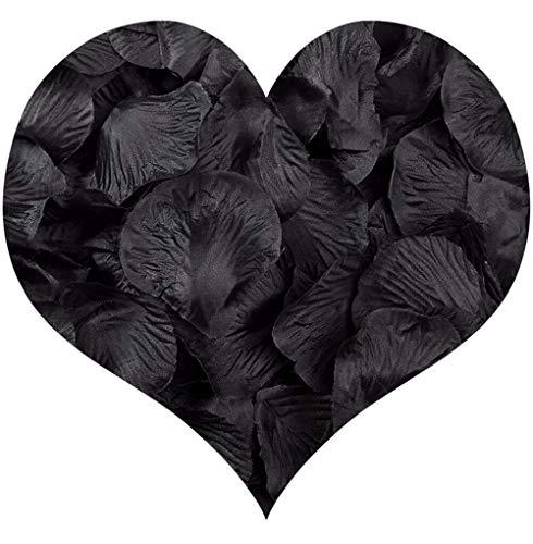 Pétalos de Rosa de Seda,1000 Pack Pétalos de Flores Decoración Romántica Artificiales para Boda Dispersión Mesa de Confeti del San Valentín 5 * 5cm Negro