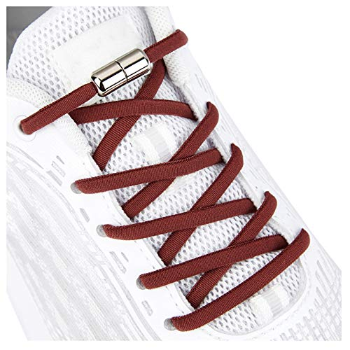 Elastic Shoe Laces for Kids and Adults Sneakers,Elastic No Tie Shoelaces Maroon