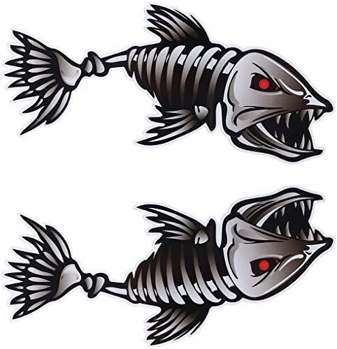 SHENJINGLI 2 x Auto-Aufkleber, Fischgräten/Fisch-Skelett-Aufkleber, Vinyl-Autoaufkleber für Kajak, Angeln, Auto (25 cm x 13 cm)
