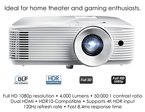 Optoma HD39HDR High Brightness HDR Home Theater Projector   120Hz Refresh Rate   4000 lumens   Fast 8.4ms Response time with 120Hz   Easy Setup with 1.3X Zoom   4K Input   Quiet Operation 26dB