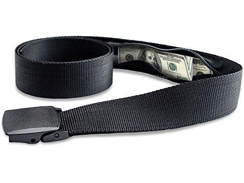 Travel Security Belt with Hidden Money Pocket Cashsafe Anti-Theft Wallet Non-Metal Buckle