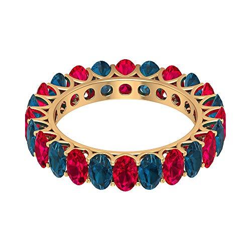 Rosec Jewels 10 quilates oro amarillo ovalada Red Blue Ruby Topacio azul - Londres