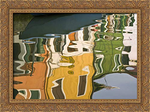 Kaveney, Wendy 40x28 Gold Ornate Framed Canvas Art Print Titled: Italy, Burano Houses Reflecting on Canal