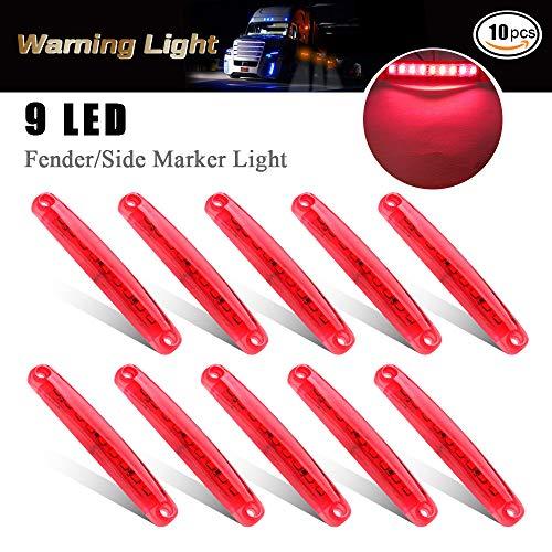 10 unides Luces de Posición laterales 9 SMD LED Luces de Posición laterales indicador lateral de señal delantera trasera de luz 12V para auto camping van camión remolque motocicleta (Rojo)