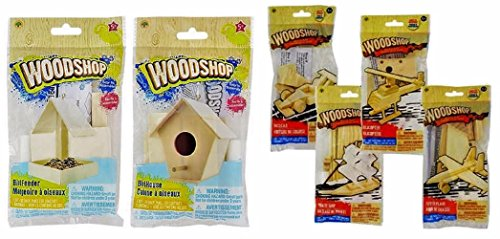 Wood Craft Model Activity Kits, Helicopter, Fighter Plane, Pirate Ship, Race Car, Bird House, Bird Feeder, 6-kit Set