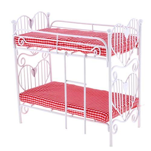AOWA 1:12 Puppenhaus Miniaturbett Zweilagiges Bett Möbel Modell Spielzeug Puppenhaus Schlafzimmer Möbel Puppenhaus Dekor