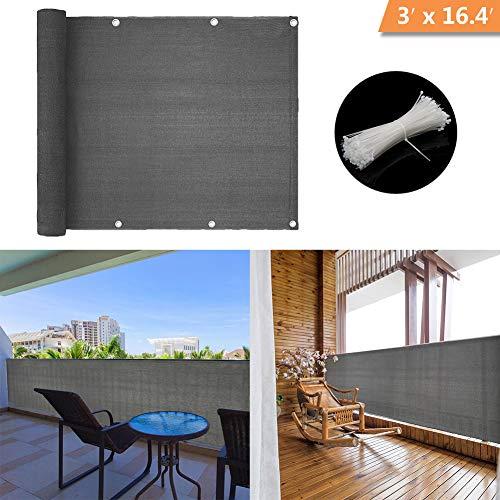 Shsyue Balcón Privacidad Filtro-Resistente al Viento Antracita Protección UV Balcón Cubierta con Ataduras de Cables 500x90 cm Nuevo