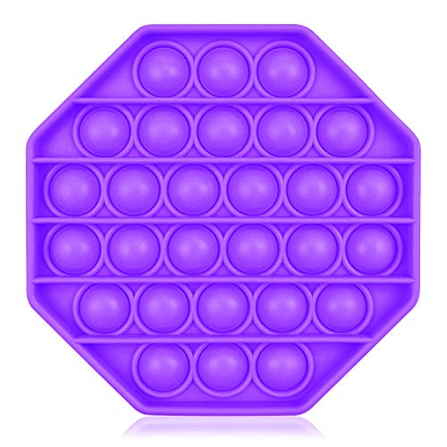 Grandisk Push Pop Bubble Sensory Fidget Toy Silikon Stress Relief Spielzeug Sensorisches Zappeln Spielzeug Autism Special Needs Silent Classroom Squeeze Toys für Angst und Autism (Lila, Achteck)