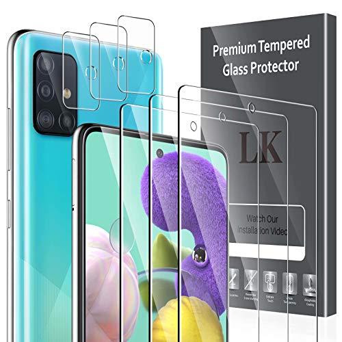 LK 6 Stück Schutzfolie Kompatibel mit Samsung Galaxy A51 & A51 5G Bildschirmschutzfolie, 3 Schutzfolie & 3 Kamera Folie, 9H Festigkeit, HD Klar Bildschirmschutz, Kratzen Blasenfrei Einfacher Montage
