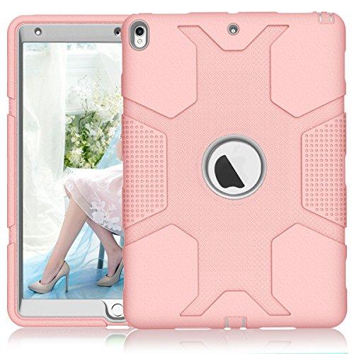 iPad Pro 10.5Fall, nokea Robust Dämpfung High Impact Resistant Hybrid Dual Layer Silikon + Hard PC Bumper Schutzhülle für Apple iPad Pro Maurerkelle 2017, Rose Gold