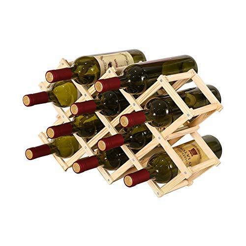 Dniu Botellero de madera, soporte para botellas de vino, soporte plegable para botellas, almacenamiento de vino para bodegas (puede contener diez botellas de vino)
