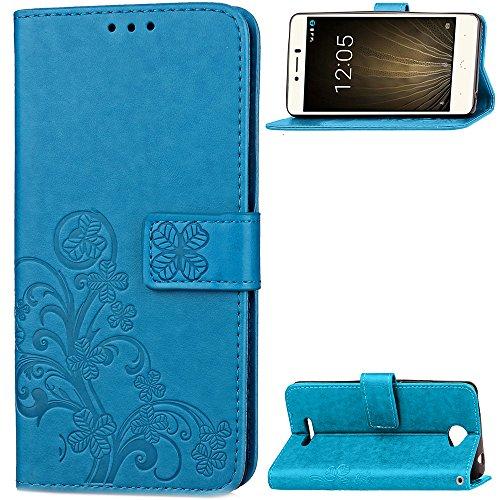Hülle für BQ Aquaris U, BQ Aquaris U Lite Handyhülle Leder Tasche Schutzhülle Stoßfest Flip Hülle Klapphülle Ständer Brieftasche Ledertasche - Blau