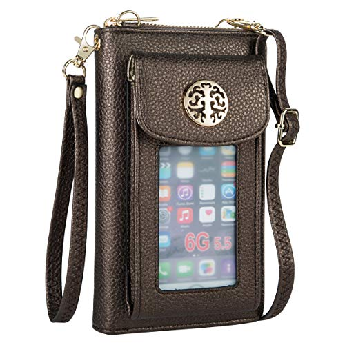 Heaye Crossbody Cell Phone Purse for Women Wristlet Wallet with Card Slots RFID (Chocolate)