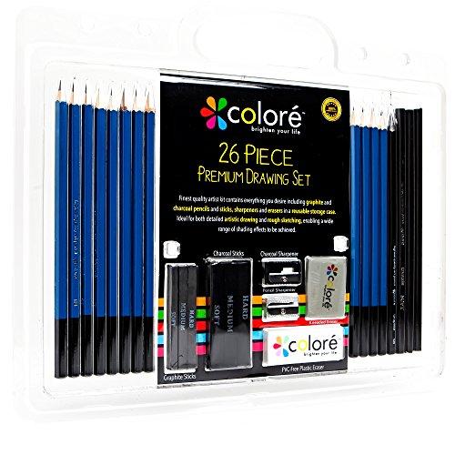 Colore 26-teiliges Skizzier- und Zeichenstiftset – Hochqualitative Premium-Graphit und Kohle-Minen – Radiergummis und Anspitzer, ideal für die Schule und professionelle Künstler