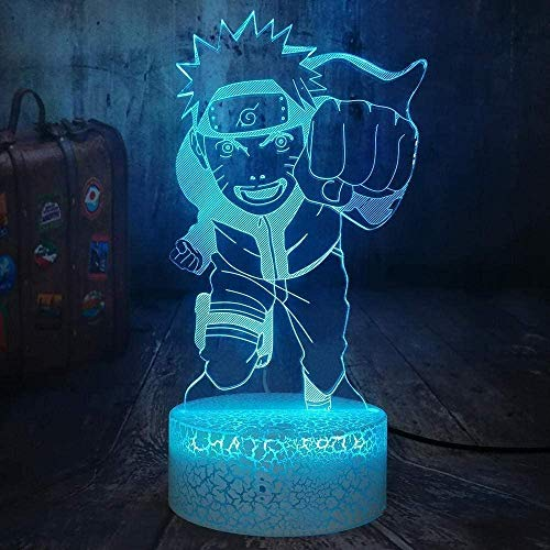 Anime Flying Whirlpool Naruto 3D LED Optische Täuschung Nachtlicht RGB 7 Farbe Riss Weiß Basis Touch Tischlampe Dekoration Geburtstagsgeschenk