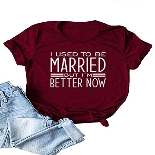 FREEPPCC Camiseta de manga corta con estampado de letras y cuello redondo para mujer con texto 'I Used to Be Married', Vino Tinto, L