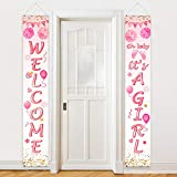 Baby Shower Decorations Welcome It's a Girl Banner Backdrop Background Door Hanging Porch Sign for Baby Shower Party Supplies, 71 x 12 Inch