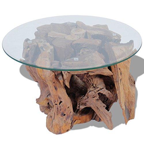 Festnight Couchtisch Kaffeetisch Coffeetisch mit Tischfuss aus Massives Teak-Treibholz Ideal als Beistelltisch Glas Tischplatte Durchmesser 60cm
