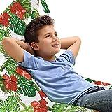 ABAKUHAUS Hibiskus Unicorn Toy Bag Lounger Stuhl, Endemisch Blumen Botanik, Hochleistungskuscheltieraufbewahrung mit Griff, Vermilion Lindgrün