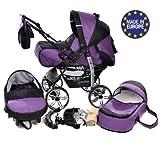 Kamil - Sistema de viaje 3 en 1, silla de paseo, carrito con capazo y silla de coche, RUEDAS ESTÁTICAS y accesorios (Sistema de viaje 3 en 1, violeta, negro)