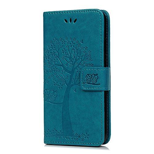 Reevermap Nokia 1.3 Hülle, Lederhülle für Nokia 1.3 Handyhülle Wallet Flip Leder Hülle Tasche Brieftasche Etui Standfunktion Schutzhülle Eulenbaum im Bookstyle, Blau