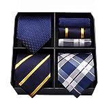 HISDERN Lote 3 PCS Set de corbata para hombre Banquete de boda de negocios clasico Lunares Compruebe raya de color solido Corbata y bolsillo cuadrado - Conjuntos multiples