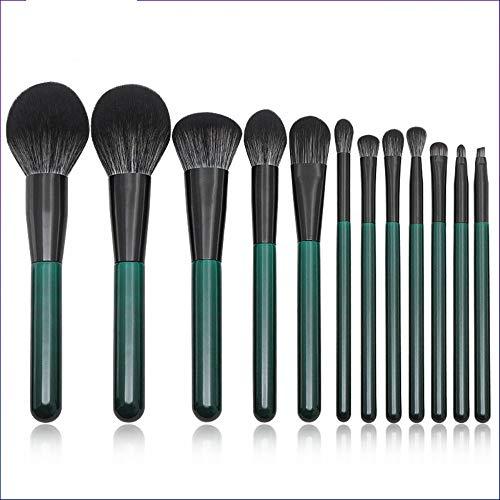 Pinceaux Maquillages 12 Pinceau De Maquillage Manche En Bois Vert Foncé Set Noir Et Blanc Fibre Cheveux Lâche Brosse Outil De Beauté Maquillage