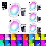 (5-PACK)LED Einbaustrahler 230v flach Dimmbar 16 Farben mit Fernbedienung 10W