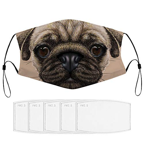 Roupaze Children Face Masks Pug Detailed Portrait Drawing of A Dog Realistic Design of The Pet Animal Digital Art Tan Pale Brown Windproof Face Mouth Cover Balaclavas for Kids with 5 Filter