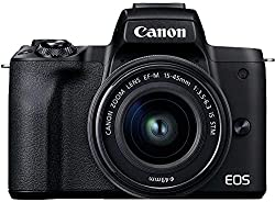 Canon EOS M50 Mark II Kamera + Objektiv EF-M 15-45mm F3.5-6.3 is STM (24,1 MP, 7,5 cm Touchscreen LCD, WLAN, HDMI, Bluetooth, Dual Pixel CMOS AF System, Augen AF, 4K Video, OLED EVF), schwarz