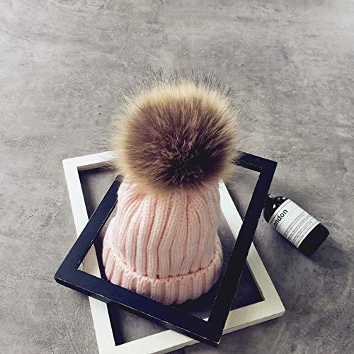 mlpnko Sombrero de Punto de Color sólido Trenza de imitación Bola de Pelo Gorro de Lana Gorro de Punto Femenino Gorro de Estudiante Gorra Rosa Claro código Adulto