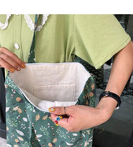 ZHANGDONGLAI Canvas Bag Casual Schulter Weste Große Kapazität Einfache Einkaufstasche Mit Brief Drucken Creme Farbe Mädchen Handtasche Frauen Einfache Paket Tasche (Color : SU Green Zipper)