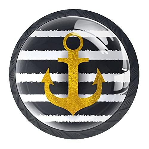 Anchor - Manija de puerta para armario, diseño minimalista moderno y con diseño de rayas negras