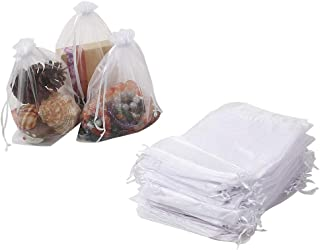 HRX Package 100pcs Sheer Organza Bags White, 6.5 x 8.9 inches Christmas Wedding Shower Party Favors Gift Drawstring Bags Large Mesh Jewelry Pouches