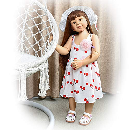 34inch87cm Reborn Toddler Dolls,Huge Baby Full Body Hard Vinyl Girl Realistic Anatomically Correct+ Long Hair Age 2 Dress Model Collectible Great Qualtity (1)