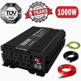 1500W Power Inverter for Car 12V DC to 110V AC Converter with 6.2A Dual USB Ports TUV Approved 3000 Watts Peak Featuring