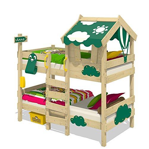 WICKEY Litera CrAzY Daisy Cama infantil Cama alta con techo, ventana, escalera y somier de madera, lona verde