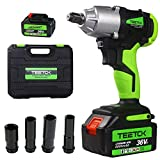 21V Cordless Impact Wrench-2 Batteries 6.0Ah Rechargeable, 420Nm Torque & 14mm, 17mm, 19mm